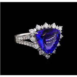 14KT White Gold 5.30 ctw Tanzanite and Diamond Ring