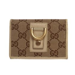 Gucci Ivory Brown Canvas Monogram Bi-fold Wallet