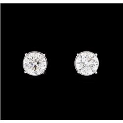 0.93 ctw Diamond Earrings - 14KT White Gold
