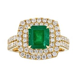 1.86 ctw Emerald and Diamond Ring - 18KT Yellow Gold