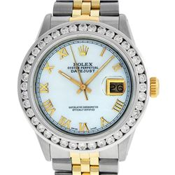 Rolex Mens Two Tone Yellow Gold White Roman 3 ctw Diamond Datejust Wristwatch