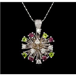 14KT White Gold 2.52 ctw Tourmaline and Diamond Pendant With Chain