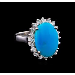 4.92 ctw Turquoise and Diamond Ring - 14KT White Gold