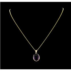 6.48 ctw Amethyst and Diamond Pendant With Chain - 14KT Yellow Gold