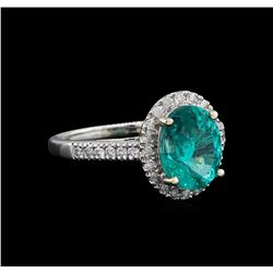3.14 ctw Apatite and Diamond Ring - 14KT White Gold