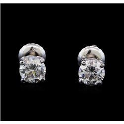 1.04 ctw Diamond Stud Earrings - 14KT White Gold