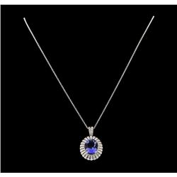 6.81 ctw Tanzanite and Diamond Pendant With Chain - 14KT White Gold