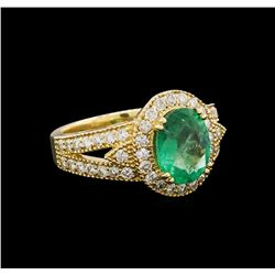 14KT Yellow Gold 1.98 ctw Emerald and Diamond Ring