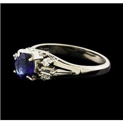 1.07 ctw Sapphire and Diamond Ring - Platinum