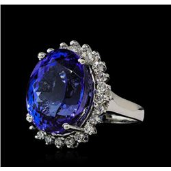 16.57 ctw Tanzanite and Diamond Ring - 14KT White Gold