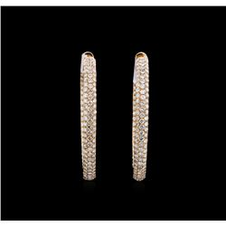 5.77 ctw Diamond Hoop Earrings - 18KT Rose Gold