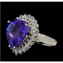 10.06 ctw Tanzanite and Diamond Ring - 14KT White Gold