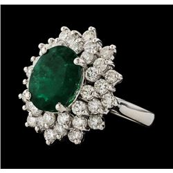 4.04 ctw Emerald and Diamond Ring - 14KT White Gold