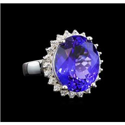 GIA Cert 10.17 ctw Tanzanite and Diamond Ring - 14KT White Gold