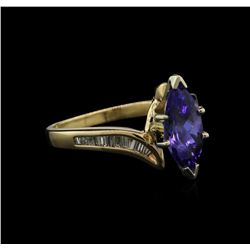 1.41 ctw Tanzanite and Diamond Ring - 18KT Yellow Gold