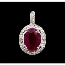 3.68 ctw Ruby and Diamond Pendant - 14KT White Gold
