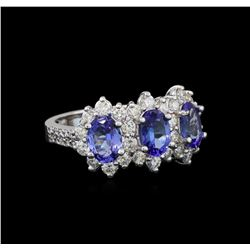 14KT White Gold 1.88 ctw Tanzanite and Diamond Ring