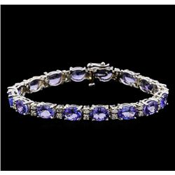 14KT White Gold 17.76 ctw Tanzanite and Diamond Bracelet
