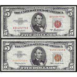 Set of 1953 & 1963 $5 Legal Tender Notes