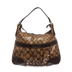 Gucci Brown Beige Coated Canvas Crystal Leather Mix Hobo Bag