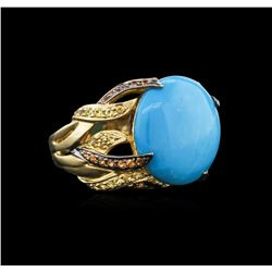 14KT Yellow Gold 7.64 ctw Turquoise and Sapphire Ring