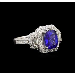 14KT White Gold 2.24 ctw Tanzanite and Diamond Ring