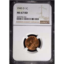 1945-D LINCOLN CENT, NGC MS-67 RED