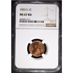 1953-S LINCOLN CENT, NGC MS-67-RED