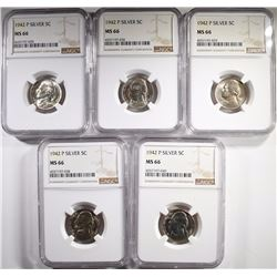 (5)1942-P SILVER JEFFERSON NICKELS, NGC-MS66