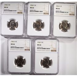 (5) 1946-S JEFFERSON NICKELS NGC-MS66