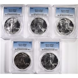 5-1987 AMERICAN SILVER EAGLES, PCGS-MS69