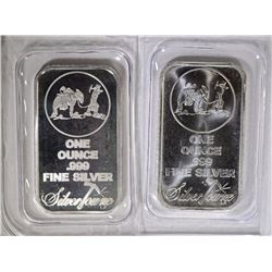 2-ONE OUNCE .999 SILVER BARS ( SILVERTOWNE )