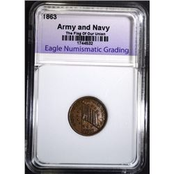 1863 CIVIL WAR TOKEN The Flag of Our Union