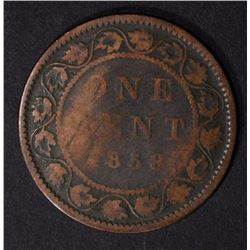 1858 CANADIAN LARGE CENT, VG KEY DATE