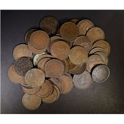 50-CANADIAN LARGE CENTS, VARIOUS DATES