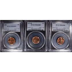 1973, 73-D & 89 LINCOLN CENTS PCGS MS-66 RED