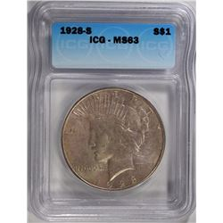 1928-S PEACE SILVER DOLLAR, ICG MS-63