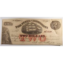 1864 STATE OF MISSISSIPPI $2.00 NOTE, CU