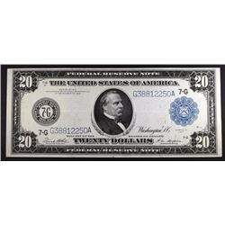 1914 $20 FEDERAL RESERVE BANK NOTE  AU