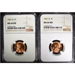 2 - 1951-D LINCOLN CENTS NGC MS66 RD