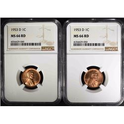 2 - 1953-D LINCOLN CENTS NGC MS66 RD