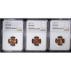 1954-S, 1955, 1958 NGC MS66 RD LINCOLN CENTS