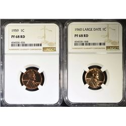 1959 & 1960 LARGE DATE LINCOLN CENTS, NGC PF-68