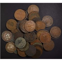 (50) MIXED DATE AVE. CIRC CANADIAN LARGE CENTS