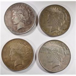 4- 1922 PEACE SILVER DOLLARS