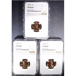 (3) 1962 LINCOLN CENTS, NGC PF-68 RD