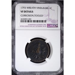1793 WREATH ONE CENT- VINE & BARS - NGC VF DETAILS