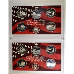 (2) 2005 United States Silver Quarter Proof Sets