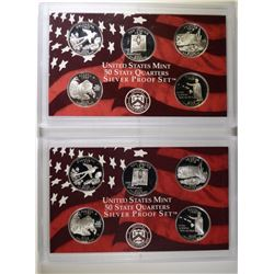 (2) 2008 United States Silver Quarter Proof Sets