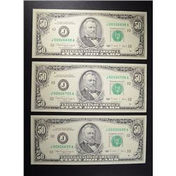 3-1990 $50 FEDERAL RESERVE NOTES GEM UNC
